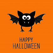 Cute Cartoon Bat. Happy Halloween Card. Flat Design.
