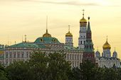 Grand Kremlin Palace Bell Tower, Tower And Archangel Cathedral At The Dawn