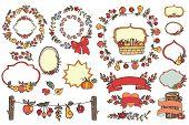 Doodle Harvest template set.Fruits,berries,decor elements