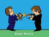 Jazz band with a Trumpet player Duel Saxophonist : Vector