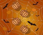 Halloween Background With Pumpkins, Bats And Spiderweb