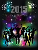 Happy new year 2015. Party background. Dancing people.