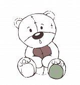 Cute Teddy Bear Toy Sketch - Isolated