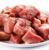 stock photo of turkey-hen  - Raw turkey meat on white background - JPG