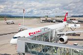 ZURICH - September 21: Swiss A-330 preparing at Terminal A Zurich Airport on September 21, 2014 in Z