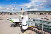 ZURICH - September 21:  Planes preparing at Terminal A Zurich Airport on September 21, 2014 in Zuric