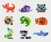 Set of flat design geometric animals icons