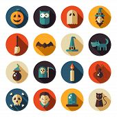 Set of flat design Halloween icons