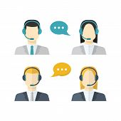 Icons  Set Male And Female  Call Center Avatars In A Flat Style With A Headset,color  Speech Bubbles