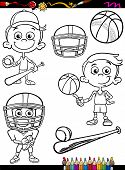 picture of ball cap  - Coloring Book or Page Cartoon Illustration of Black and White Boy Kid Playing Baseball and Basketball and American Football Set for Children - JPG