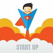 Superhero Flying. Creative Business Start Up Concept . Vector Cartoon Illustration In Flat Style