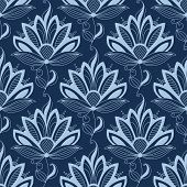 Blue persian paisley seamless floral pattern