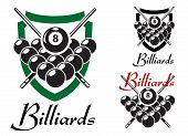 Billiards and snooker retro emblems set