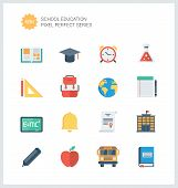 Pixel Perfect Education Items Flat Icons Set