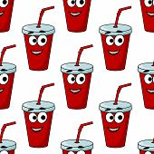 Cartoon takeaway beverage seamless pattern