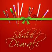 Diwali celebration with firecrackers binding in a ribbon with stylish text of Shubh Diwali on shiny red background.