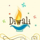 Stylish text of Diwali with illuminated oil lit lamp for Diwali celebration on floral decorated beige background.