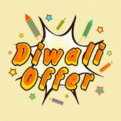 Diwali celebration with stylish text of Diwali Offer with crackers.