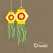 Stylish text of Diwali with hanging for Diwali celebration on seamless background.