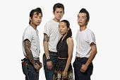 Group of Asian friends in rockabilly clothing