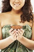 picture of pacific islander ethnicity  - Pacific Islander woman holding bath salts - JPG