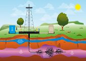 stock photo of shale  - illustration of a drilling extraction hydraulic fracturing of shale gas for geothermal sustainable energy - JPG