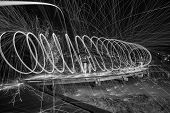 Steel Wool Spinning 30 second exposure. Black & White