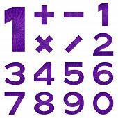 Numbers set, violet space
