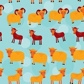 Ram, ewe and lamb. Set of funny animals with cubs seamless pattern on a blue background. vector