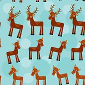 deer. Set of funny animals seamless pattern on a blue background. vector