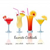 stock photo of pina-colada  - Favorite Cocktails Set isolated - JPG
