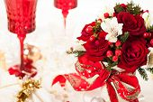 Christmas table decoration with festive bouquet