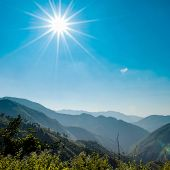 Landscape Of Sunny Mountain And Blue Sky In Countryside Of Thailand