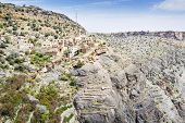 stock photo of jabal  - Image of village and mountains on Saiq Plateau in Oman - JPG