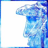 watercolor animal background in a blue color, head of lizard wit