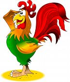 image of sun perch  - Rooster sits on a perch welcomes the sun illustration - JPG