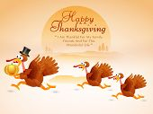 Beautiful Thanksgiving Day celebrations concept with cute turkey bird family holding pumpkin.