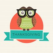 Happy Thanksgiving Day celebrations with cute owl in big specs on colourful abstract background.