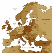 Brown Map Of Europe