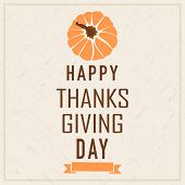 Poster, banner or flyer design with pumpkin and stylish text on beige background for Happy Thanks Giving Day celebrations.