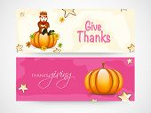 Website header and banner design for Happy Thanksgiving Day celebrations.