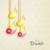 Stylish hanging illuminated oil lit lamps and text of Diwali for Diwali celebration on seamless beig
