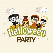Kiddish poster for Halloween party with scary ghosts, pumpkin faces, owl, cat and stylish text.