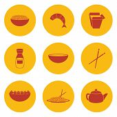 foto of chinese menu  - Set of objects on chinese cuisine theme for your design - JPG