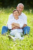 Happy senior couple sitting relaxed together in nature in summer