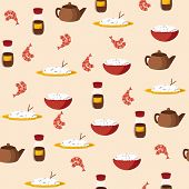 Seamless background on chinese cuisine theme