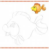 foto of game-fish  - Connect the dots and coloring page with funny fish - JPG