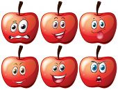 Illustration of apples with facial expressions