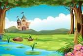 picture of ponds  - Illustration of a castle and a pond - JPG