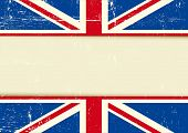 UK scratched horizontal background. Horizontal background with the Union Jack flag and a frame for your message. Ideal for a screen